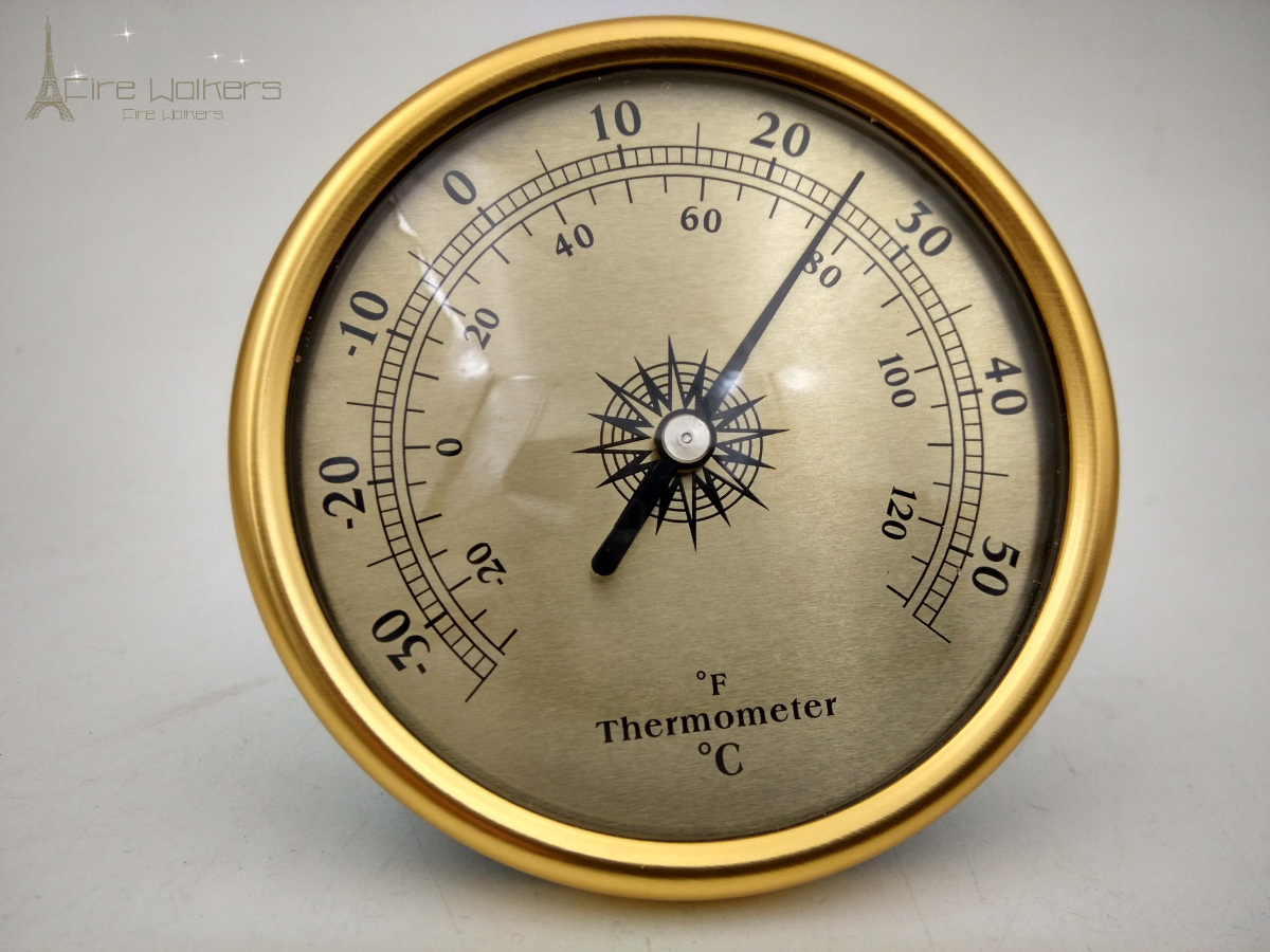 New Arrival 72mm golden/silver adjustable Thermometer Transparent Round Circular Temperature Thermograph wall mounting type