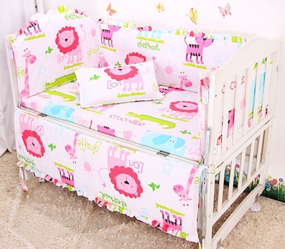 Promotion! 6PCS Baby Crib Bumper Sets,Baby Girl Crib Bedding Set,Pink Soft Baby Bedding ,include(bumpers+sheet+pillow cover)