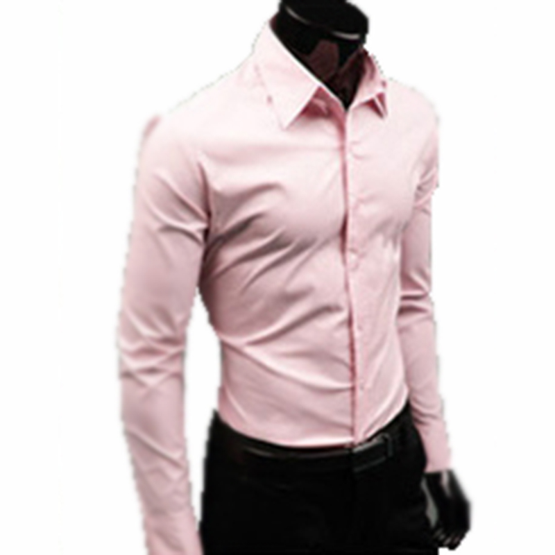 2018 men luxury brand shirts Business Casual Long Sleeve Turn-down Collar Candy colors Men Dress Shirt Men Clothes
