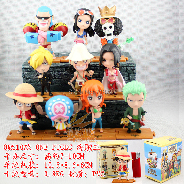 Free Shipping Anime One Piece Mini Action Figures The Straw Hats Luffy/Roronoa/Empress Hancock/Chopper Figure Toys 10pcs/set new arrival free shipping one piece watch strawhat luffy skull emboss watch anime embossment watches anime toys watches
