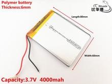 3,7 в, 4000 мач, 606080 полимерный литий ионный/литий ионный аккумулятор для игрушек, внешний аккумулятор, GPS,mp3,mp4