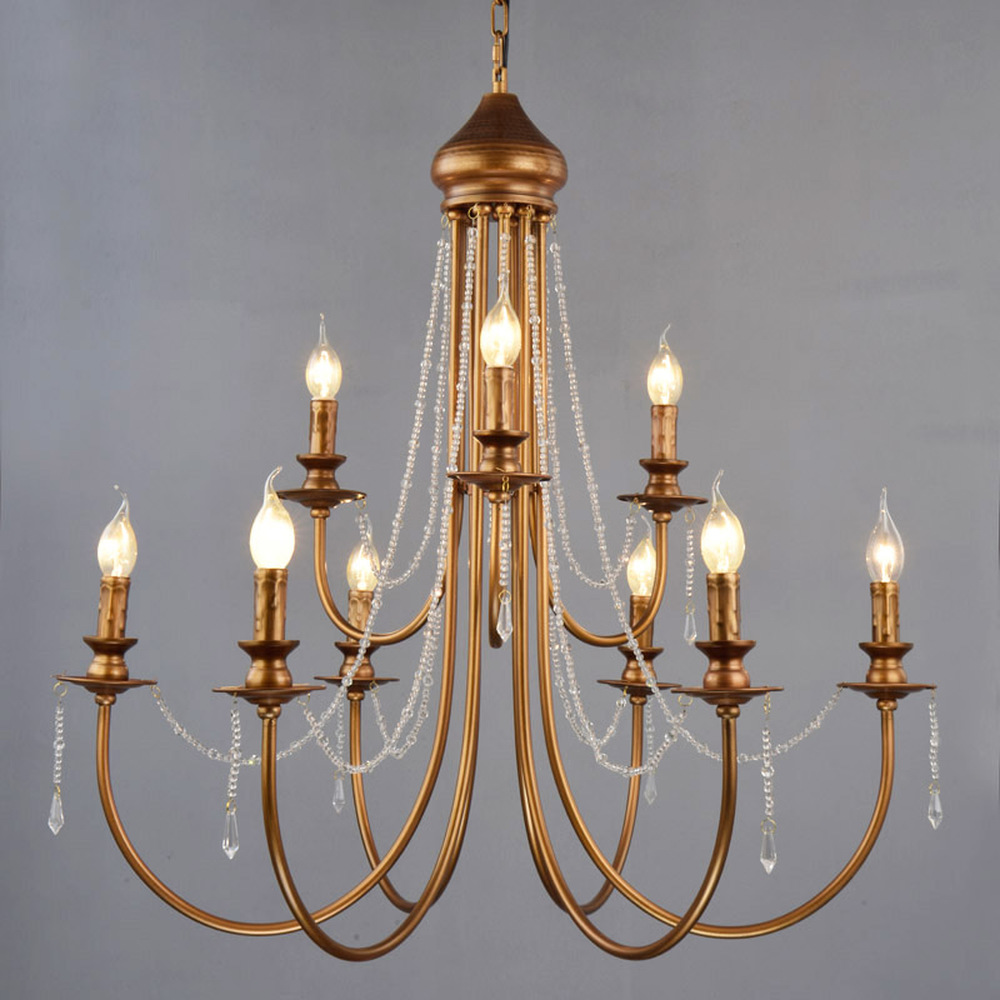 Romantic wedding American candle chandelier dining room lamp simple retro iron villa double staircase long chandelie LU816939|Pendant Lights| |  -