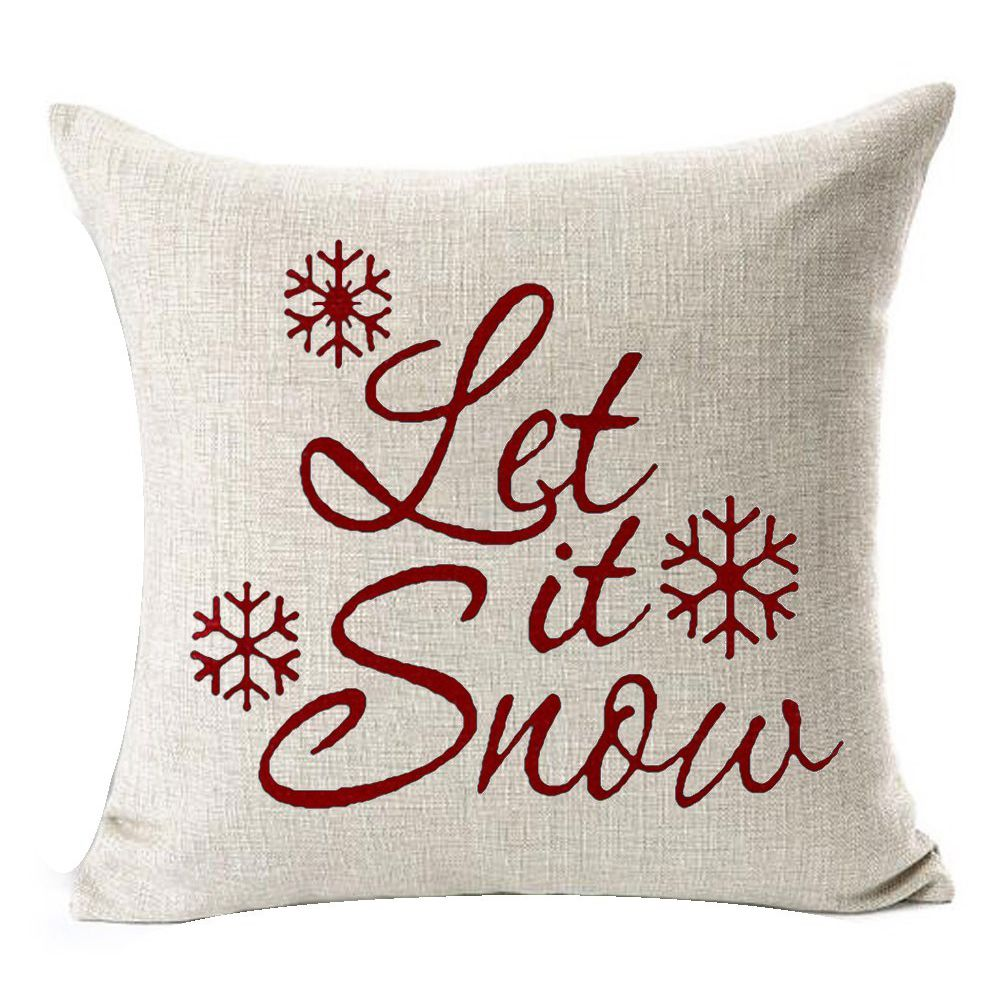 Hot Sale Let It Snow Beautiful Snowflakes Merry Christmas Gifts Flax Throw Pillow Case Home Office Living Room D