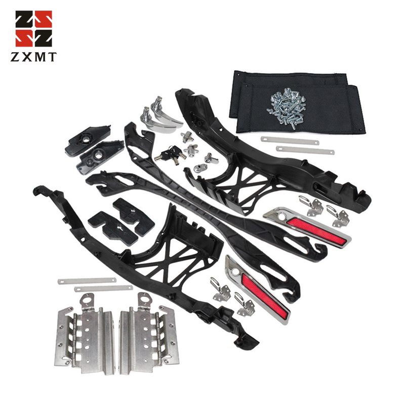 ZXMT Motorcycle Chrome One Touch Opening Saddlebag Latch Lids Hardware Kit Fit For Harley Touring 2014-2018 Year