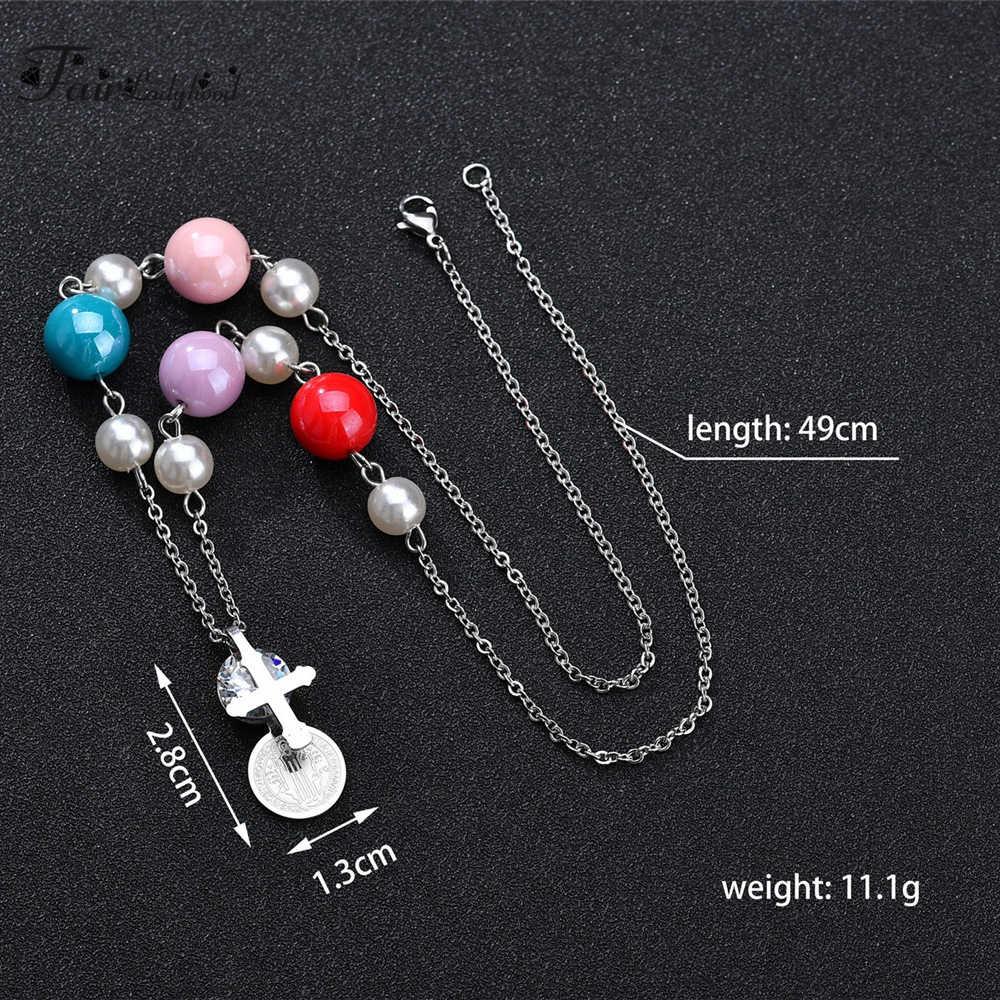 FairLadyHood Colored Beads Cross And Zricon Pendant Necklace Titanium Steel Choker Women Sweater Chain