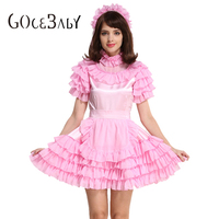 Forced Sissy Maid Satin Pink Puffy Dres Crossdressing Cosplay Costume