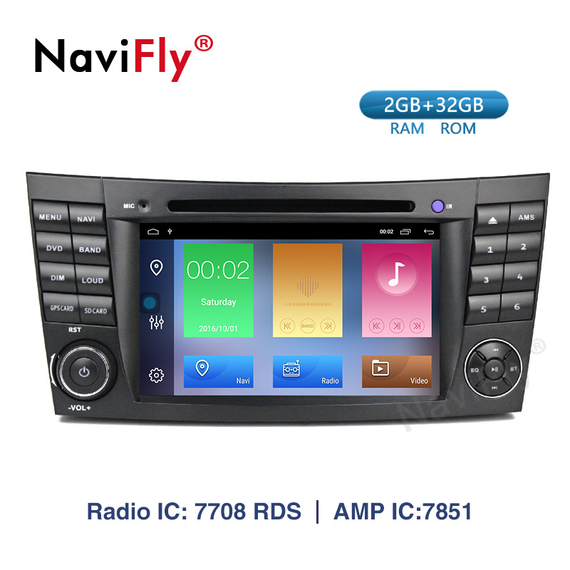 Navifly! Lecteur multimédia dvd voiture Android 9.1 pour Mercedes Benz classe E W211 CLS350 CLS500 CLS55 CLK W209 W463 Radio GPS Canbus