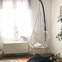 Nordic Style Handmade Knitted Hammock Outdoor Indoor Dormitory Bedroom chair for kids Single Decor round beds