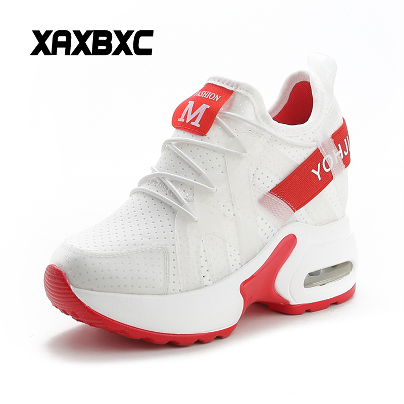XAXBXC 2018 Summer Fashion Mesh Lace Up Comfortable Breathable Increasing Platform Casual Women Sneakers Mujer Vulcanized