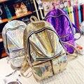 Epoch Moda 2016 Novo Holograma Backpack para a Escola Estudante Da Escola Sacos Mochila Lazer Saco De Viagem De Couro Do Laser de Prata das Mulheres