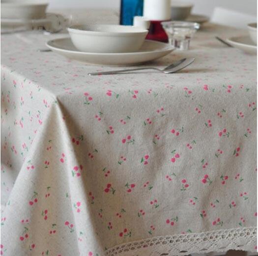Floral Dots Table Cloth Farmhouse Style Toalha De Mesa Linen Table Covers Europe Dining Table tela algodon manteles Tablecloth in Tablecloths from Home Garden