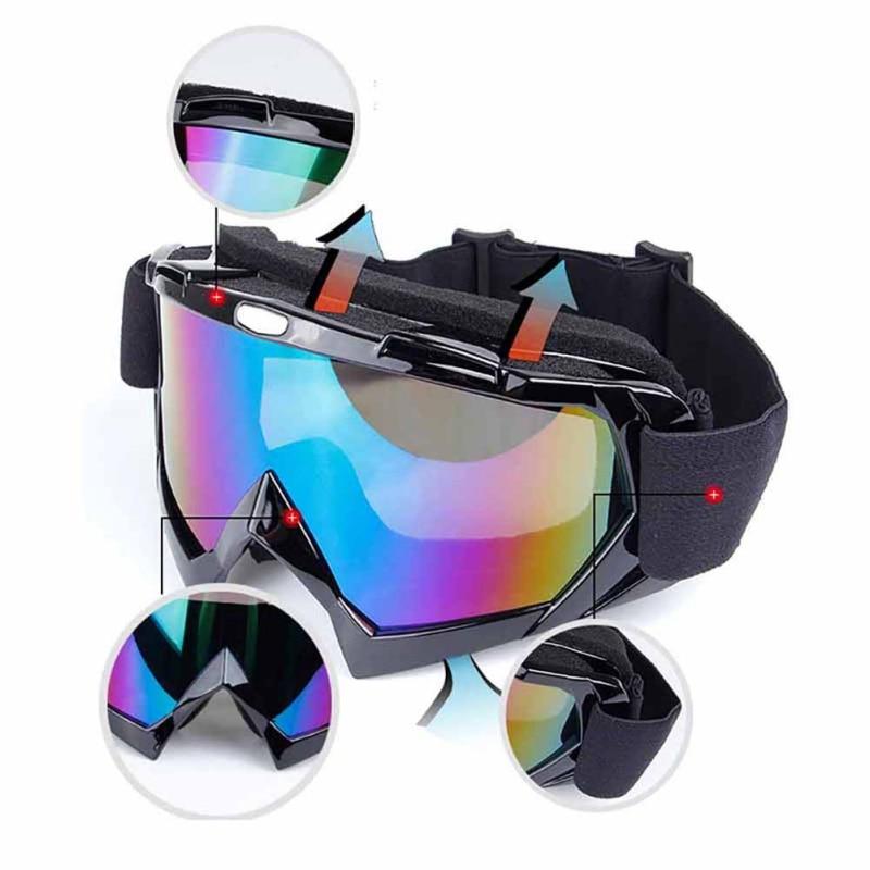 Cool Skiing Eyewear Glasses Windproof Eye-protective Motor Cycling TPU PC Goggles Large Size With Sponge Mats Changable Belt2
