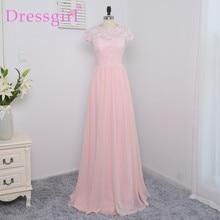 Dressgirl 2017 Cheap Bridesmaid Dresses Under 50 A-line Cap Sleeves Floor Length Pink Chiffon Lace Wedding Party Dresses