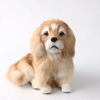 cute simulation sitting dog toy resin&fur golden dog model gift 19x16x17cm 1324