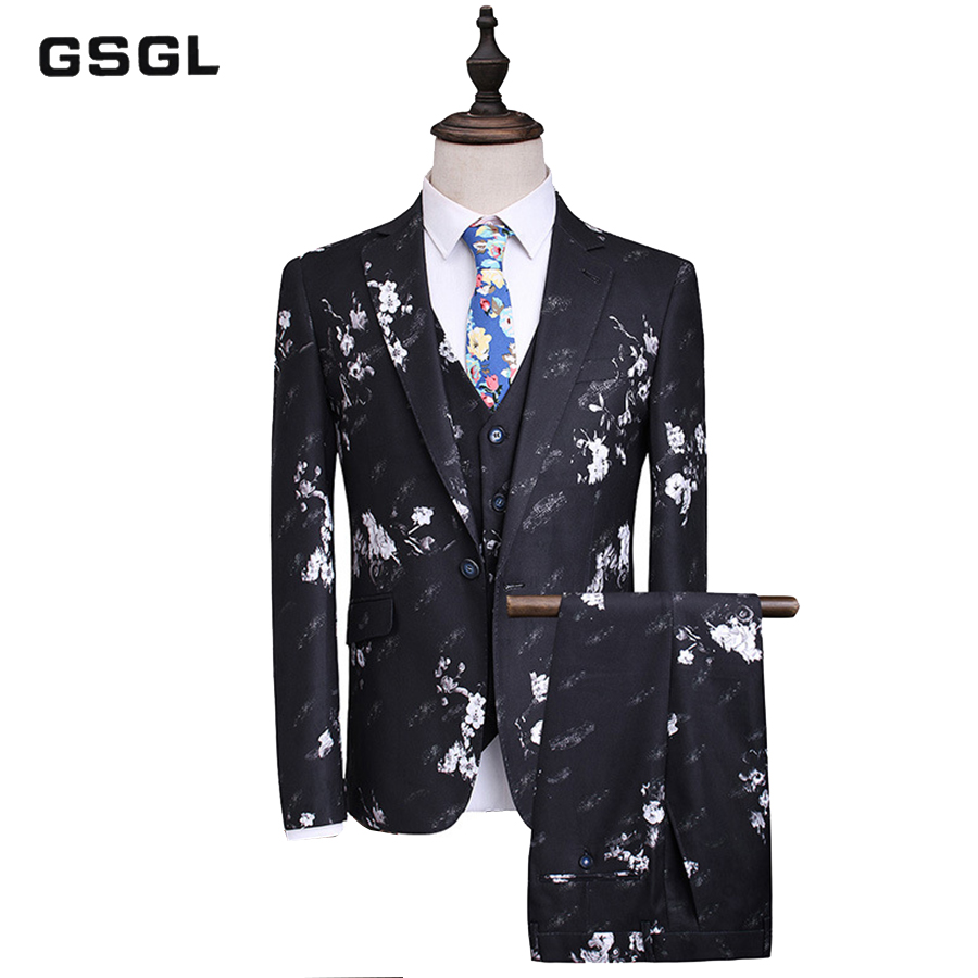 (Jackets+Vest+Pants) Men Stylish Casual Slim Suit Sets Fashion Printed Tuxedo Wedding Formal Dress Blazer Stage Performances Sui