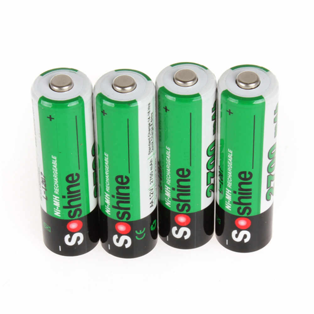4 шт./упак. Soshine Ni-MH AA 2700 mAh аккумуляторная батарея 2A батареи Batterij Bateria + портативный аккумулятор держатель коробка