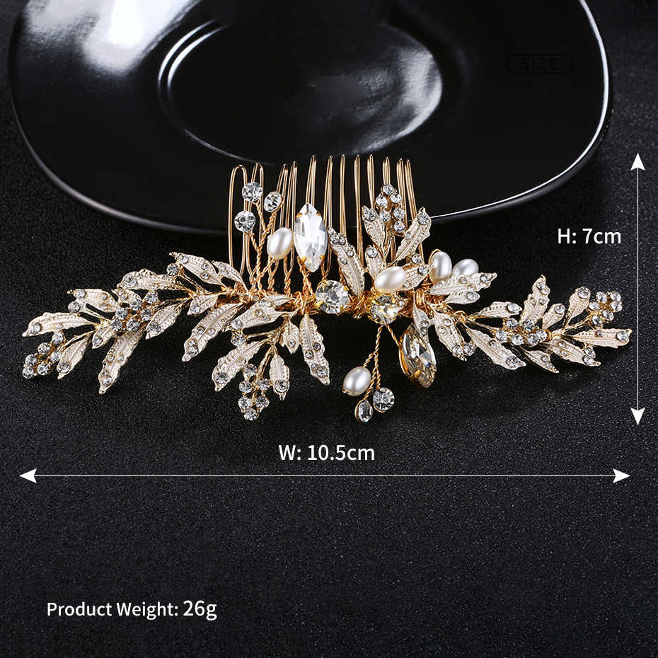 Miallo Newest Wedding Peals Hair Comb + 3pcs Hairpins for Bride Wedding Inlay Crystal Leaves Hair Jewelry Women