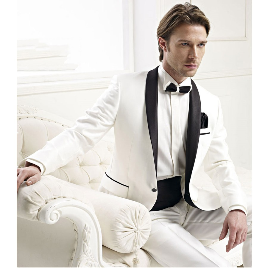 Online Shop 2017 New Groom SuitsTwo Button White Jacket With Black ...