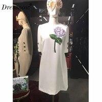 Высокое качество женские летние платье Однотонная повседневная обувь линия аппликации одежда с круглым вырезом с коротким рукавом Белое п