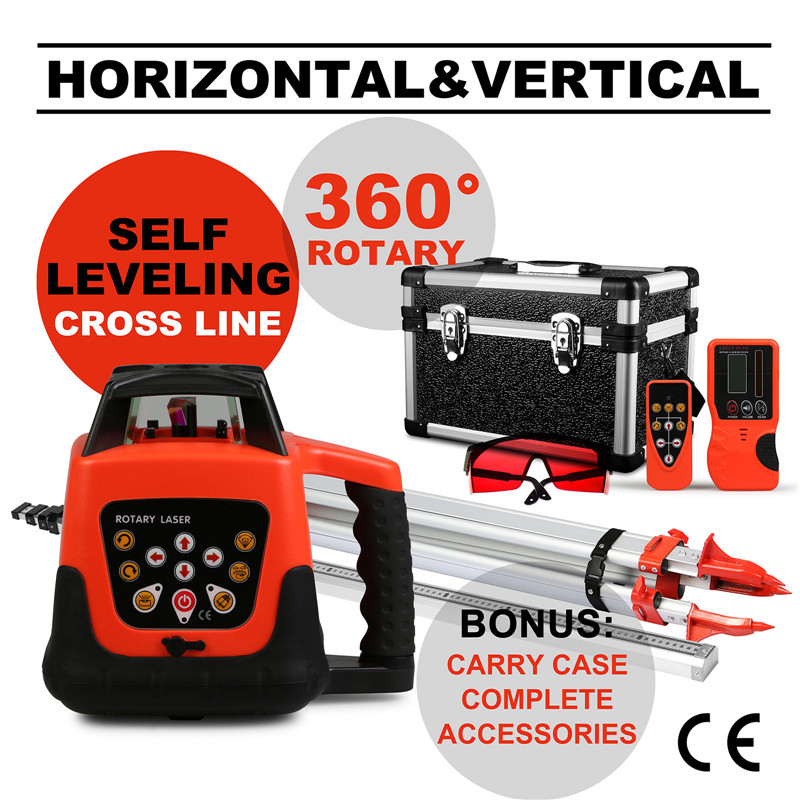 Quality Guaranteed Automatic Self-leveling Rotary Red Laser Level + Tripod + 5m Staff