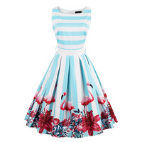 Floral Print Rockabilly Bow Belt Dresses Blue White Stripe Summer Dress Flamingo 1950s Style Elegant Party