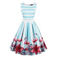 Цветочный принт рокабилли лук пояс платья Синий Белый Летнее платье в полоску Фламинго 1950 S элегантный стиль праздничное платье в стиле пэчворк 2017