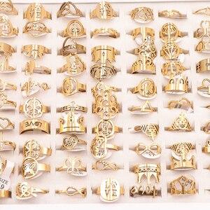 Image 3 - 50 Cái/lốc Phối Phong Cách Ngẫu Nhiên Laser Cắt Hoa Văn Vàng Màu Thép Không Gỉ Nhẫn Nữ Đảng Nhẫn