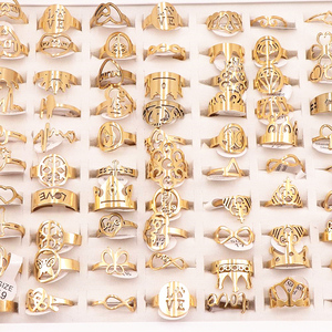 Image 3 - 50Pcs/lot Mix Random Style Laser Cut Pattern Golden Color Stainless Steel Rings Women Party Ring