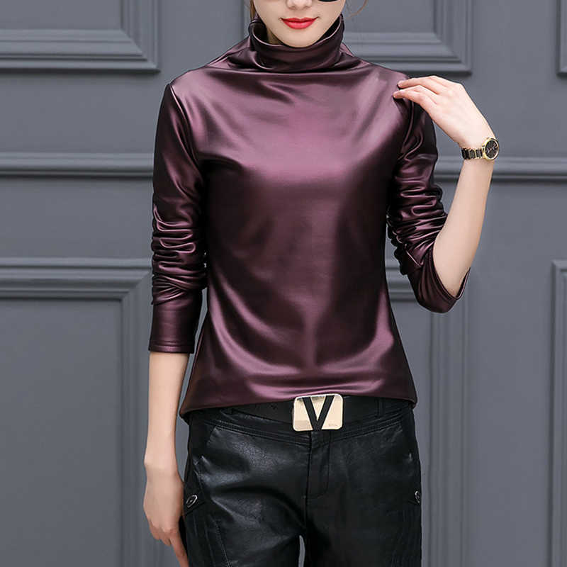 Motorcycle Fashion Faux Leather High collar Tshirt Women Bottoming Shirt Long sleeve Autumn Tops