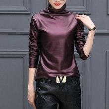 La motocicleta de cuero de imitación de la moda cuello alto camiseta mujer  camisa de manga larga de otoño 965ebb764a4