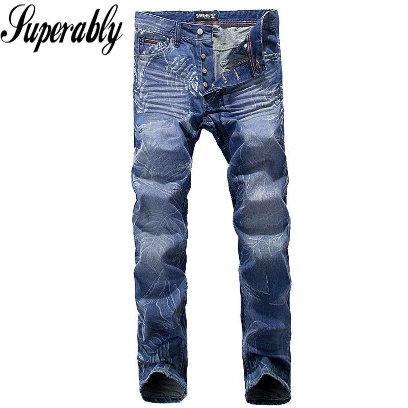 ФОТО Blue Color Denim Stripe Jeans Men Leaves Printing European American High Street Man Clothing Motor Biker Jeans Mens Pants