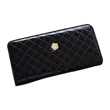 FGGS women quilted long wallet purse women Wallets With Coin Bag Plum flower clutch bag (Black Plum)