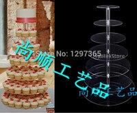 Бесплатная доставка Ясно, 7 яруса акриловые круглый кекс стенды/lucite оргстекло свадебный торт стенды/perspex кекс стендов