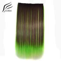 Jeedou 5Clips Gerade Synthetische Haar Clip in One Piece Hair Extensions 22 55 cm 100g Blau Braun grün Rosa Ombre Klavier Farbe