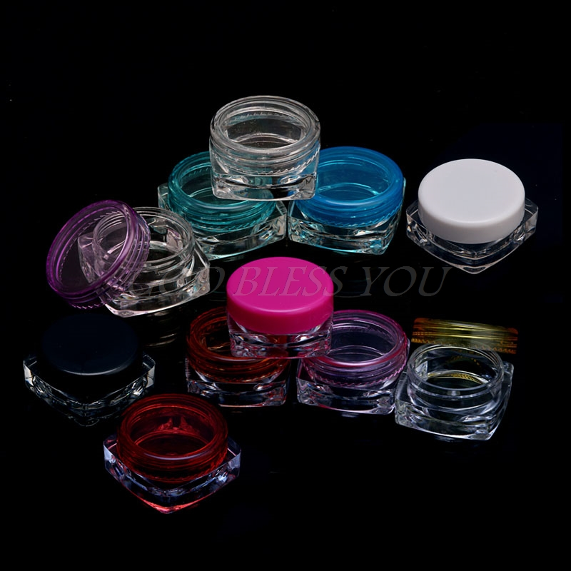 20Pcs Transparent Small Square Bottle Cosmetic Empty Jar Pot Eyeshadow Lip Shower Gel Face Cream Sample Container 3g