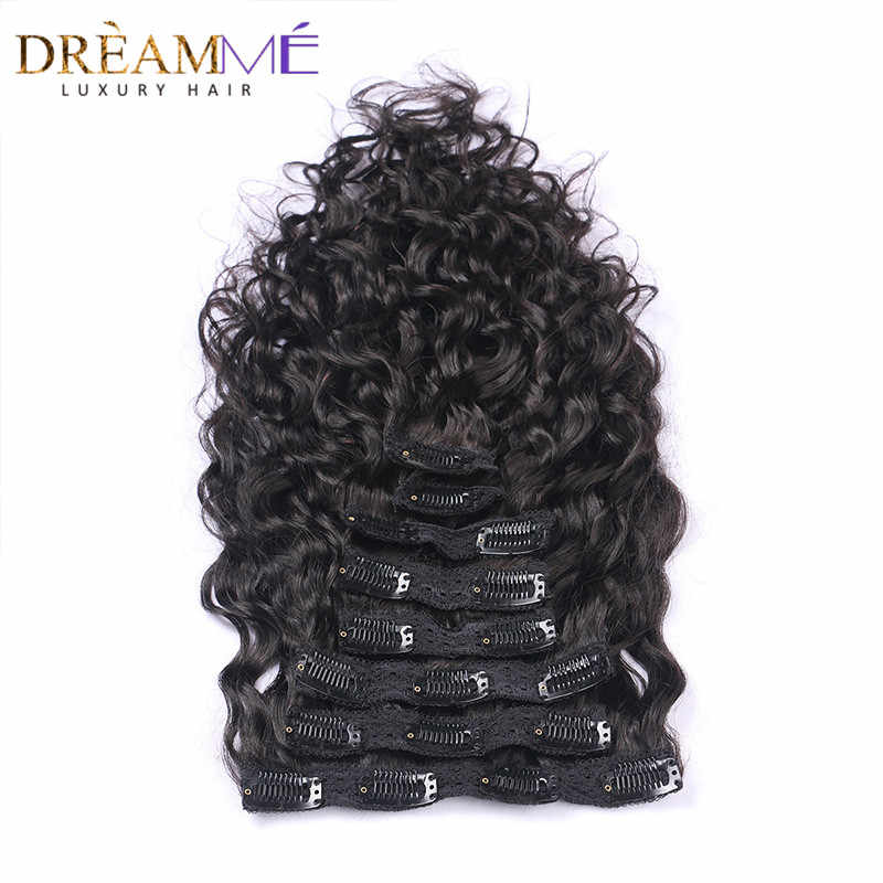 Dreaming Queen Hair Clips In Human Hair  Extension Brazilian Natural Wave 120g/Bundles 8pcs/Set Clips In Weave Machine Made Remy