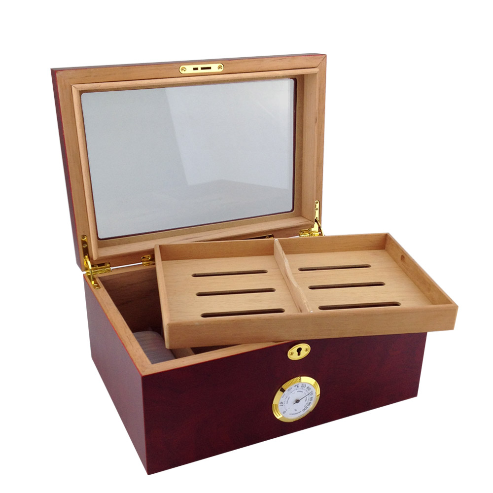Luxury wood humidor cabinet for 100 cigars factory price handmade lacquered cedar wood large cigar humidor