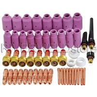 TIG Gas Lens Nozzles Collet Body Consumables Kit Fit For WP 17 18 26 TIG Welding Welder Torch 51pcs
