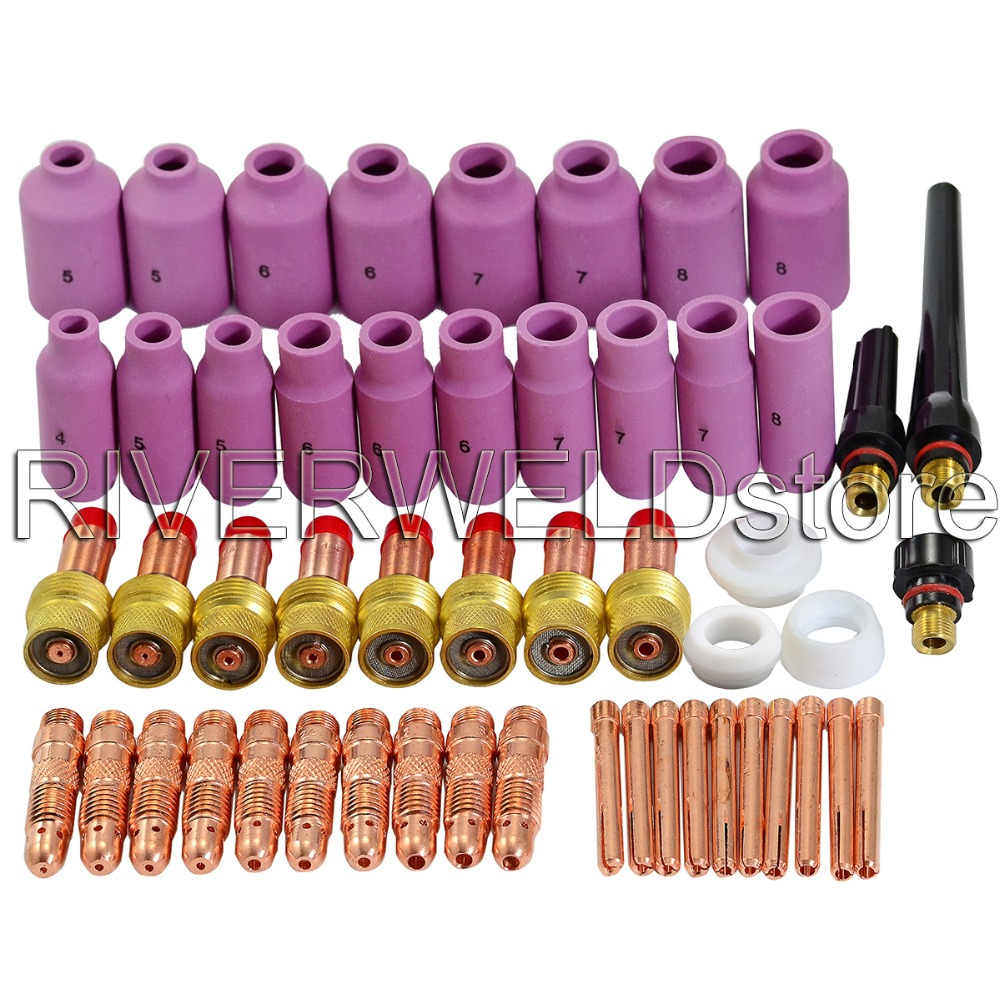 TIG Gas Lens Nozzles Collet Body Consumables Kit Fit For WP 17 18 26 TIG Welding Welder Torch 51pcs tig 26 wp 26 wp26 wp 26 tig 26 tig welding torch dinse connection quick connector gas electric seperated 4m