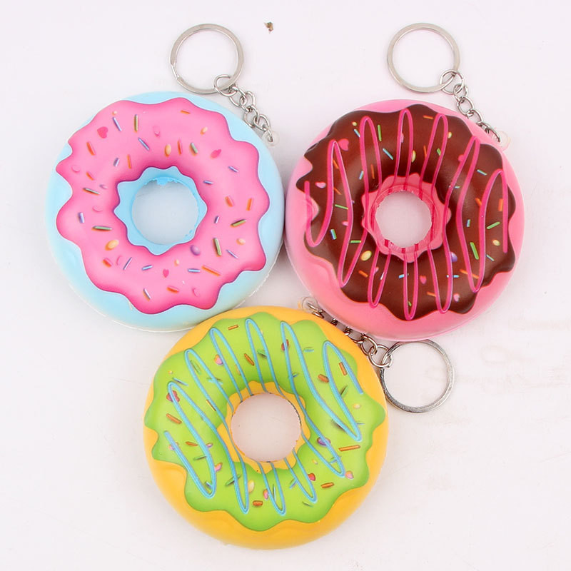 1pc Random Color Cute Kawaii Squishies Scented Donut Soft Pu Stress Relief Toys Squeeze Antistress Toys Funny Keychain #TC