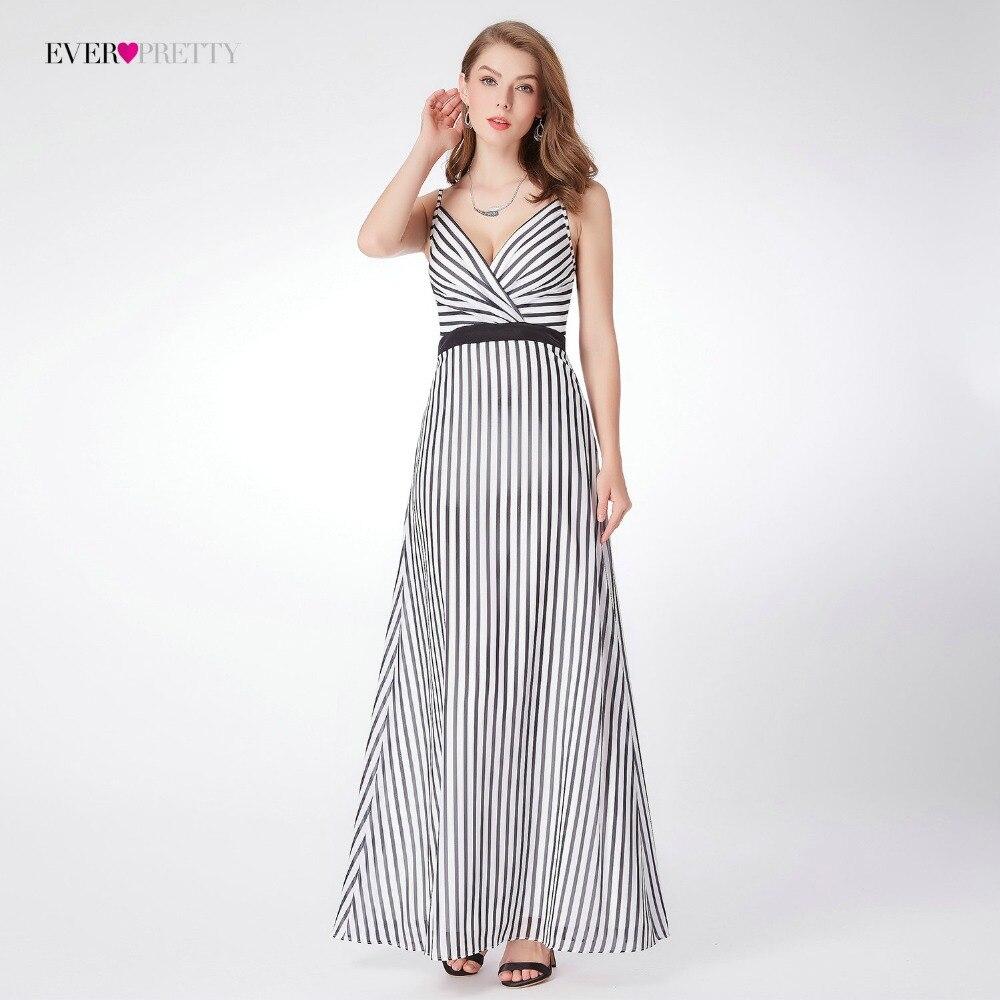 Ever Pretty Brand New Design Evening Dresses EP07290 V-neck Modern Stripe Summer Beach Dress Long A-line Womens Party Dresses