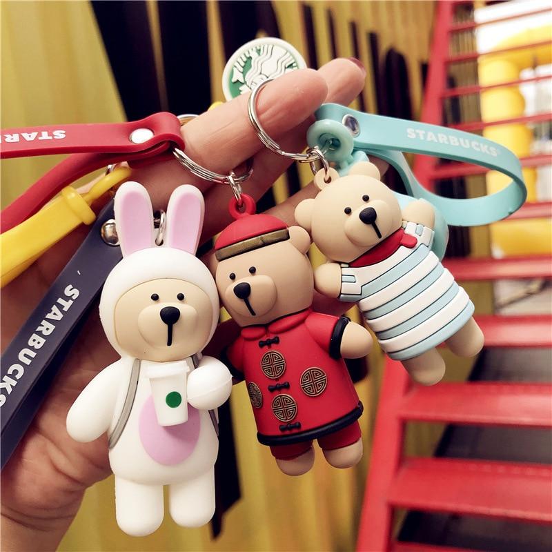 Cartoon Coffee Bear Keychain Cute Bag Charm Holder Cartoon Resin Key Chain Car Key Holder DIY Gift Decoration