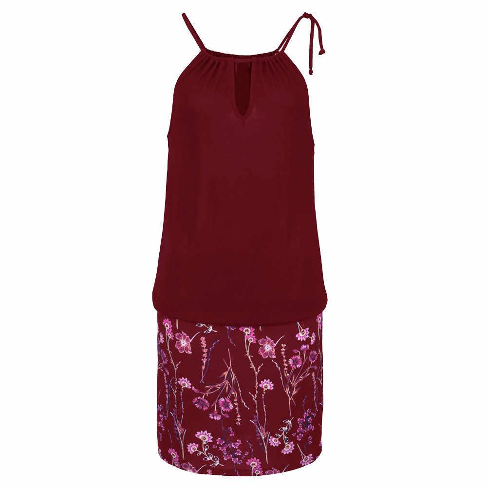 Feitong 2019 드레스 여성 여름 우아한 파티 섹시한 vestidos verano 브랜드 빈티지 인쇄 캐주얼 sundress 비치 패션 드레스