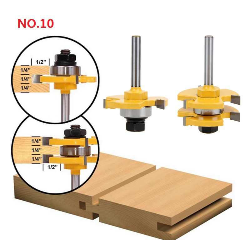 NO.1-10 Milling Cutter for Wood 1/4'' Shank Tongue Groove Router Bits Drilling Milling Carving Set Floor Woodworking Hot Sale 2pcs hot sale tenon cutter floor wood drill bits groove and tongue router bit 1 4 t type shank 3 teeth milling cutter for wood