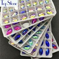 Wholesale 7x15mm 9x18mm Navette Sew On Stone Flatback Multi Colors AB Glass Crystal Horse Eye Rhinestone