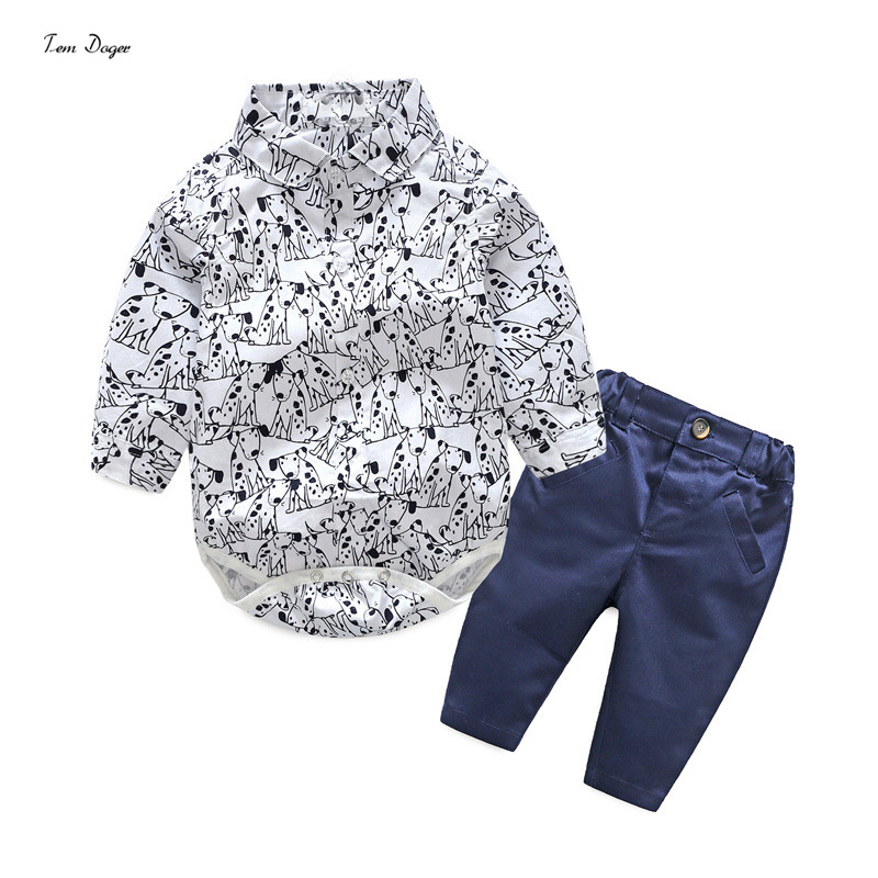 Tem Doger Baby Boys Clothing Sets Cotton Cartoon Dogs Rompers+Pants Infant Gentleman Clothes Suits Newborn Wedding Party Costume