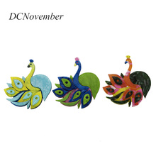Vintage Colorful Peacock Brooches Fiber Brooch Bird Pins Jewelry For Women Man Dress Accessory DCNovember