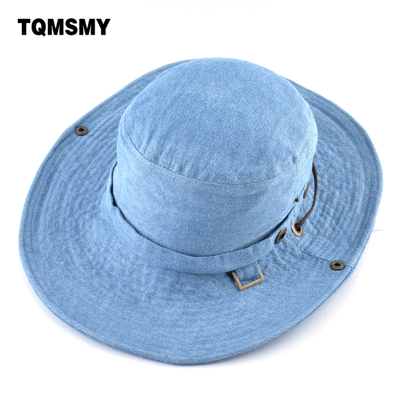 87c78505 TQMSMY Denim Cotton Summer Solid Sun Hats For Women Hiking Panama Fishing  Hat Female Bucket Hats