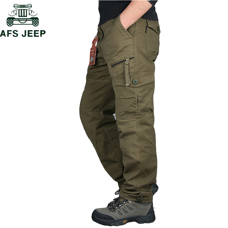 2019 Mens Cargo Pants Tactical Multi-Pocket Overalls Male Combat Cotton Loose Slacks Trousers Army Military Work Straight Pants