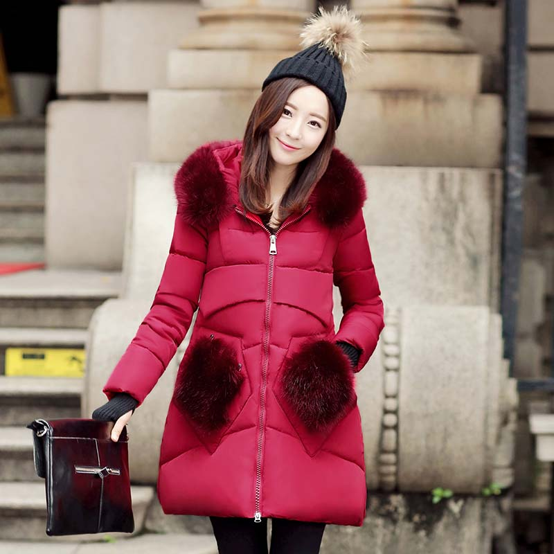 2016 New Fashion Winter Women Thick Casual Down Cotton Parka Long Fur Collar Hooded Coat Jacket Parkas For Women Winter fashionable thick hooded pleated down coat for women